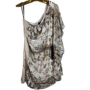 Bebe bohemian luxe 1 shoulder drama dress metallic